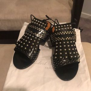 New in box Robert Clergerie sandals black silver